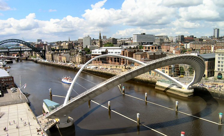 "photo ""Millennium Bridge, Newcastle, England"" tags: architecture, landscape,"