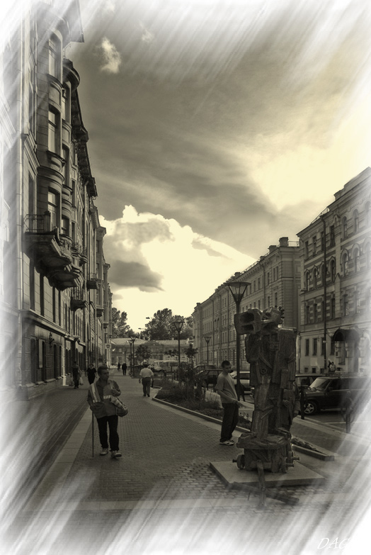 "photo ""Pravda street"" tags: black&white, architecture, landscape,"