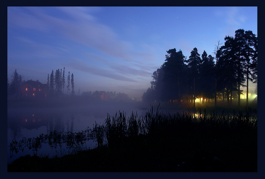"photo ""House in the lake"" tags: landscape, night, water"