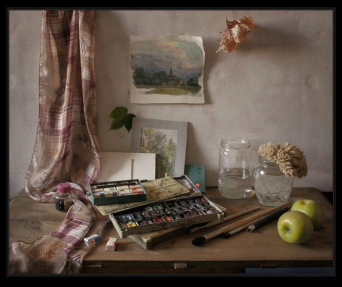 "photo ""Still-life with a water color etude"" tags: still life,"