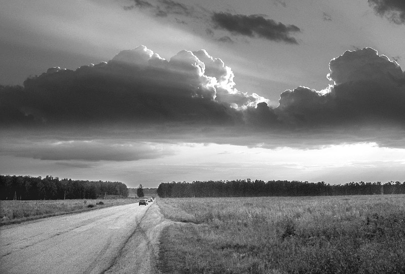"photo ""Road"" tags: black&white, landscape, summer"