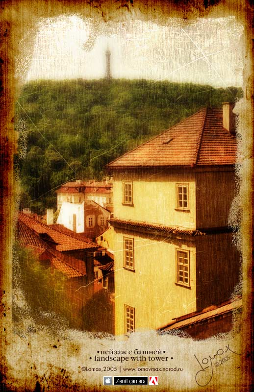 "photo ""landscape with tower"" tags: old-time, architecture, landscape,"