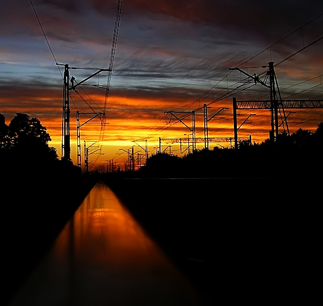 "photo ""PKP Sunset"" tags: landscape, sunset"
