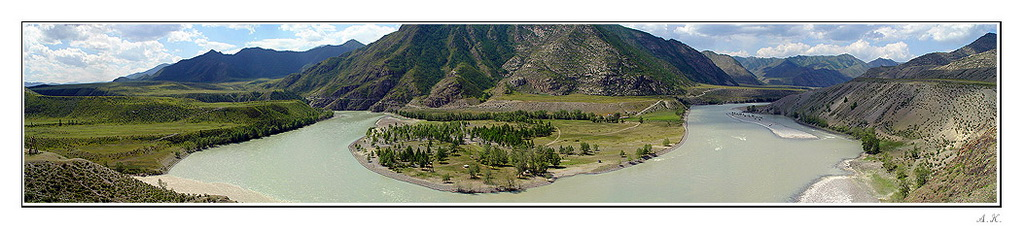 """фото """"Слияние рек"""" метки: пейзаж, вода, горы"""