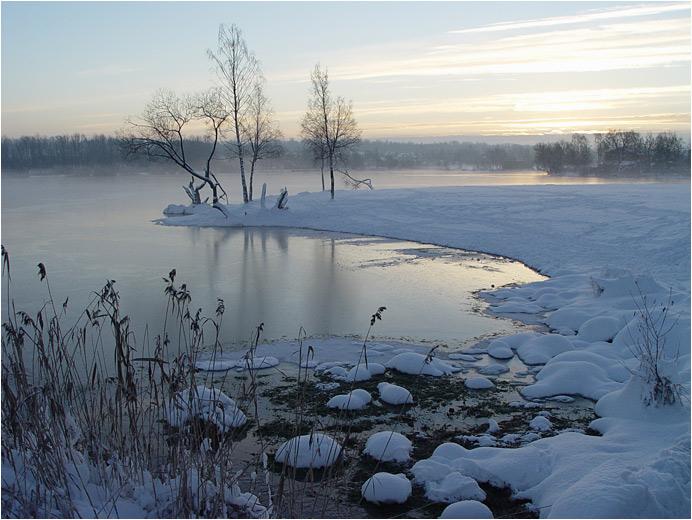 """фото """"озеро Безымянное"""" метки: пейзаж, вода, зима"""