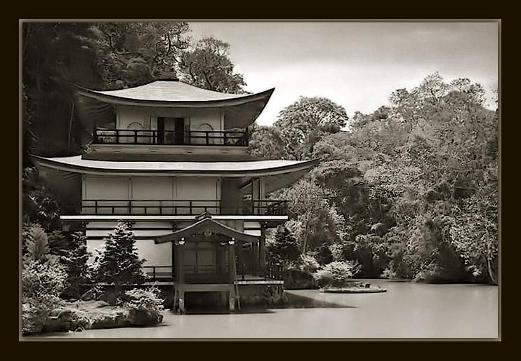 """фото """"Kinkaku-Ji #2"""" метки: архитектура, черно-белые, пейзаж,"""