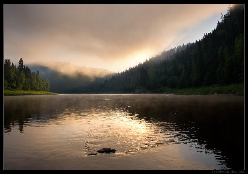 """фото """"Урал. река Чусовая / 0153_0242"""" метки: пейзаж, горы, лето, рассвет, туман"""