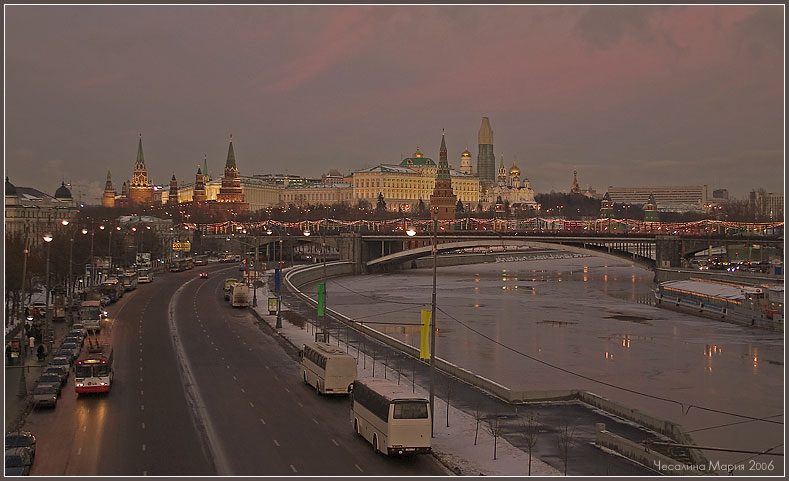 "фото ""Пасмурный вечер января..."" метки: архитектура, пейзаж, закат"
