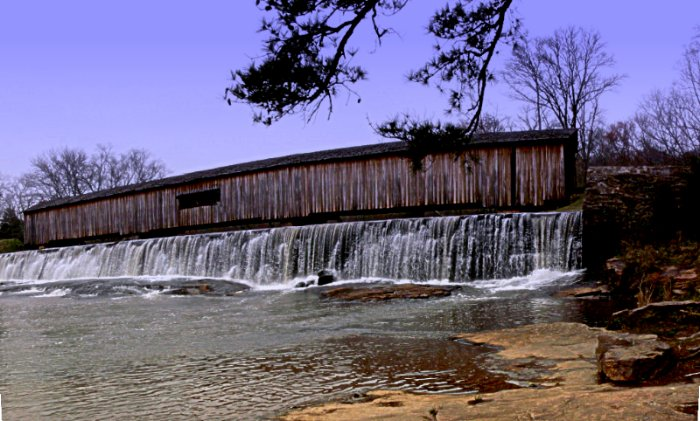 "photo ""Covered Bridge"" tags: landscape, travel, North America, water"
