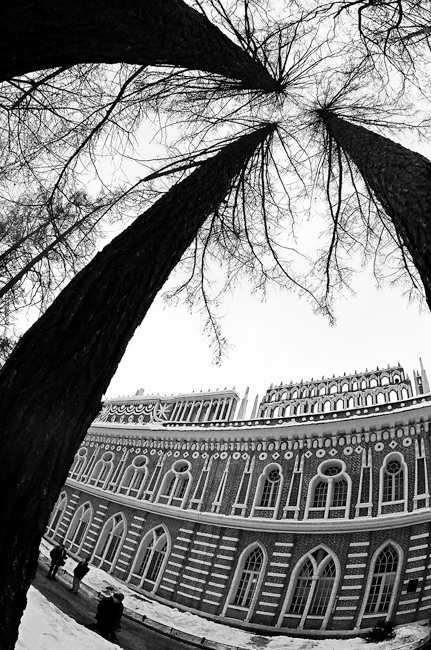 "photo ""tsaritsino moscow"" tags: architecture, black&white, landscape,"