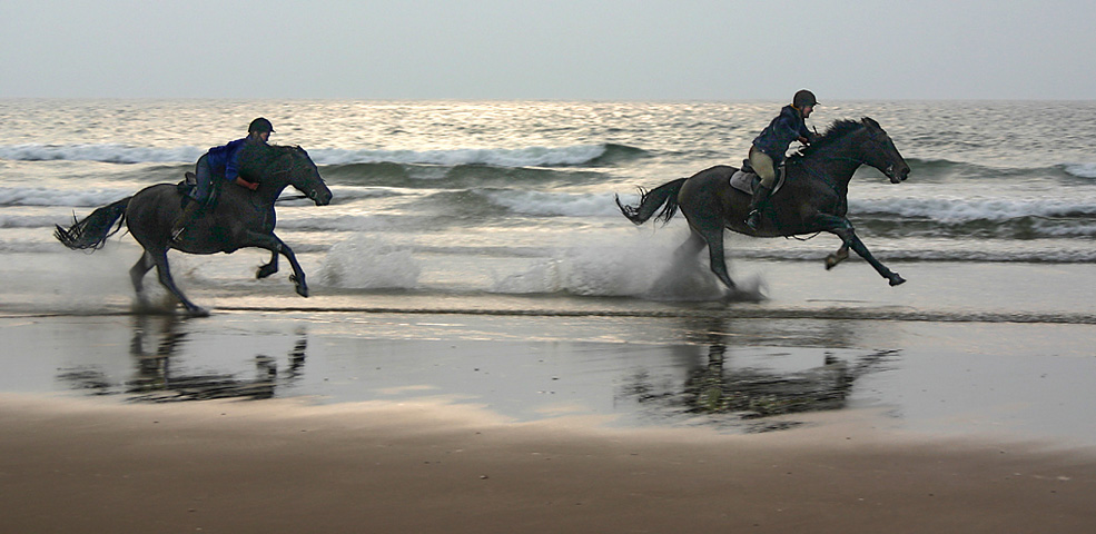 "photo ""Beach Riders - Llangennith, Wales"" tags: landscape, genre, water"