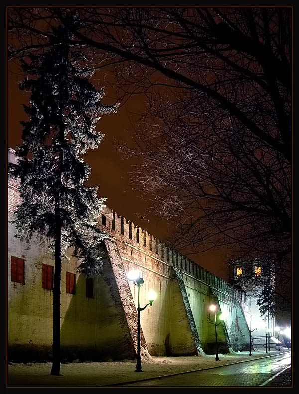 "photo ""The Priory Wall"" tags: architecture, landscape, night"