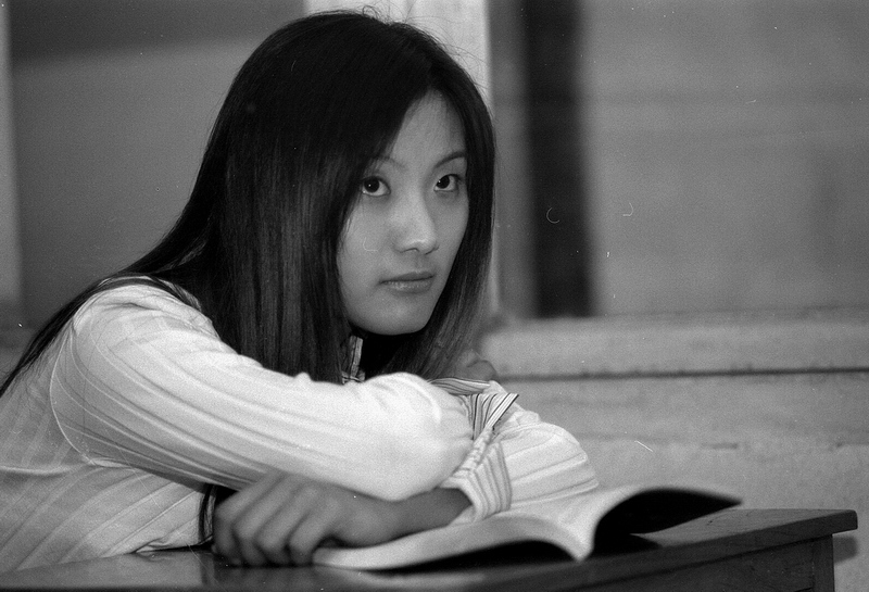 "photo ""beautiful girl in the classroom"" tags: portrait, black&white, woman"
