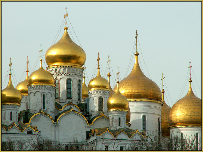 """photo """"Gold cupolas of the Moscow Kremlin"""" tags: architecture, landscape,"""