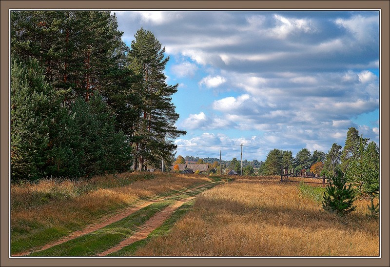 "photo ""Autumn picture with a road to the village"" tags: ,"