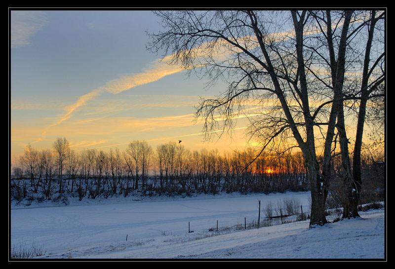"photo ""Flights"" tags: landscape, sunset, winter"