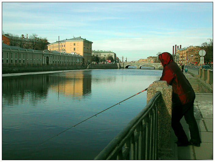 "photo ""Fishing on Fontanka"" tags: architecture, landscape, water"