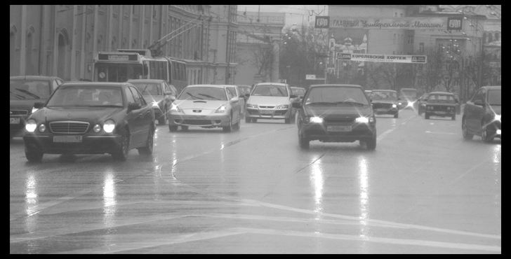 "photo ""Drizzling city etude"" tags: black&white,"