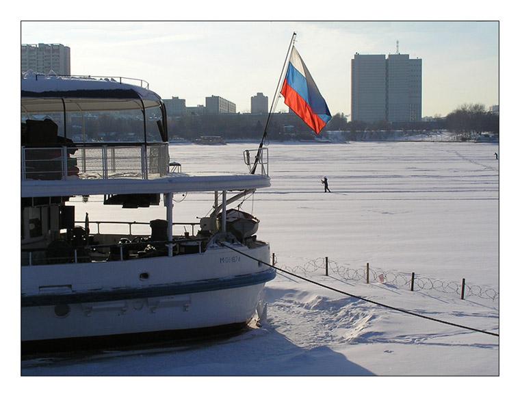 "photo ""Overdue skiers."" tags: landscape, genre, winter"