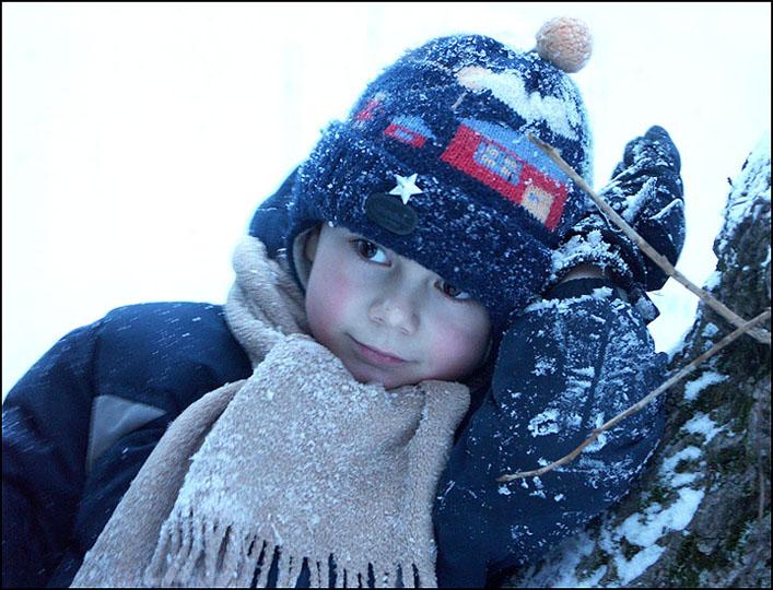 "photo ""Children's portrait on a background of winter"" tags: portrait, children"