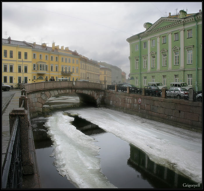"photo ""Cool water of Winter channel"" tags: architecture, landscape, clouds"
