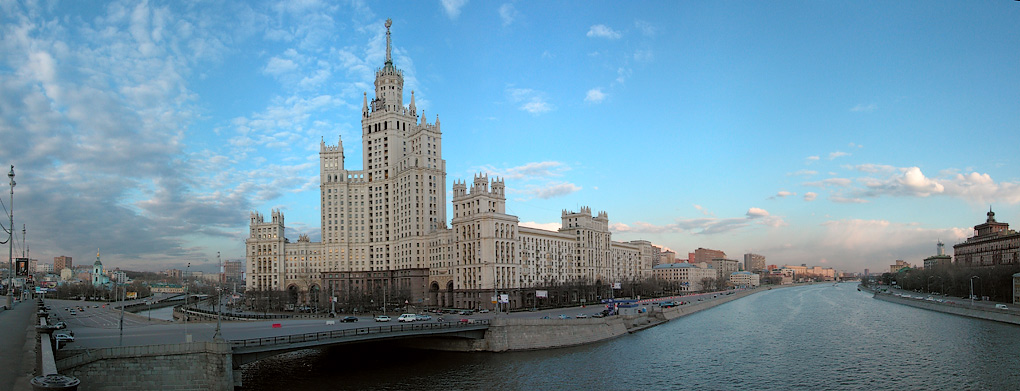 "photo ""One of 7 old Moscow  skyscrapers"" tags: architecture, panoramic, landscape,"