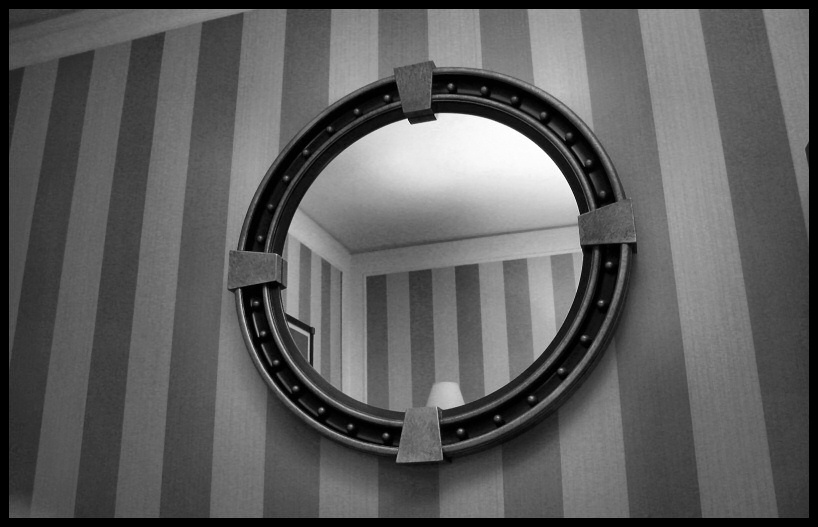 "photo ""looking up from my bed one hotel room night in hell"" tags: interior, black&white,"