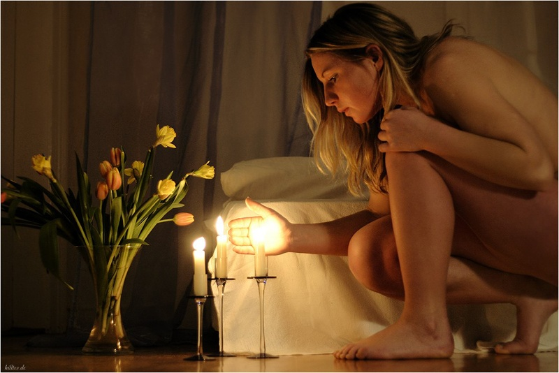 "photo ""by candlelight"" tags: portrait, nude, woman"