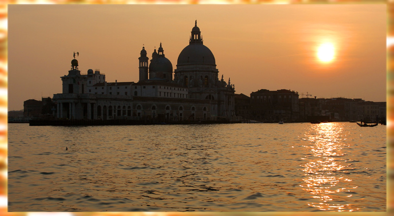 "photo ""the silhouette of s. maria de salute"" tags: landscape, travel, Europe, sunset"