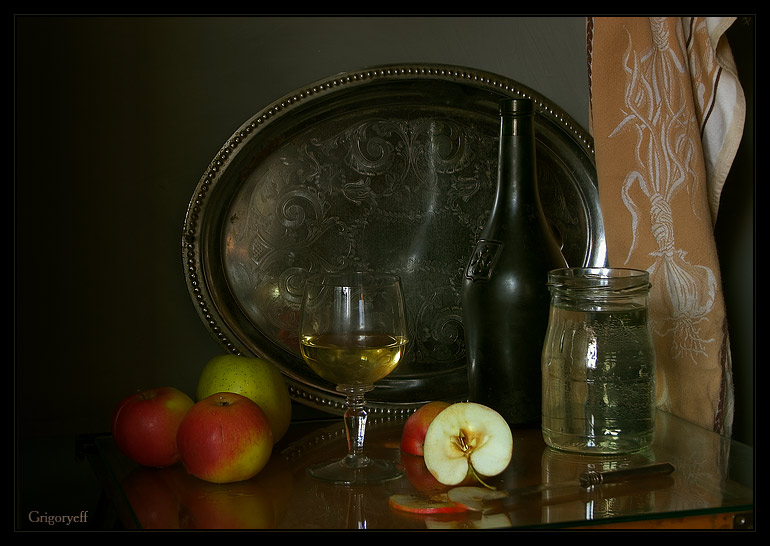 "photo ""The glass of diluted wine and last year's apple"" tags: still life,"