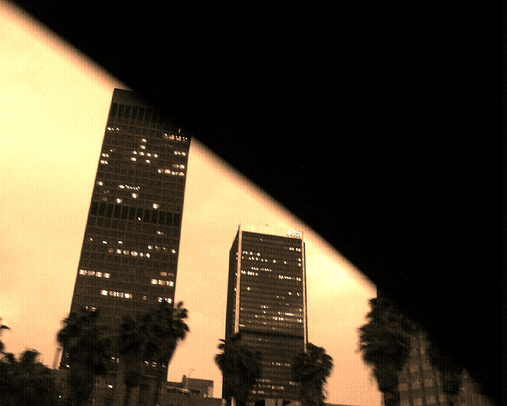 "photo ""L.A. from under a freeway."" tags: architecture, landscape, night"