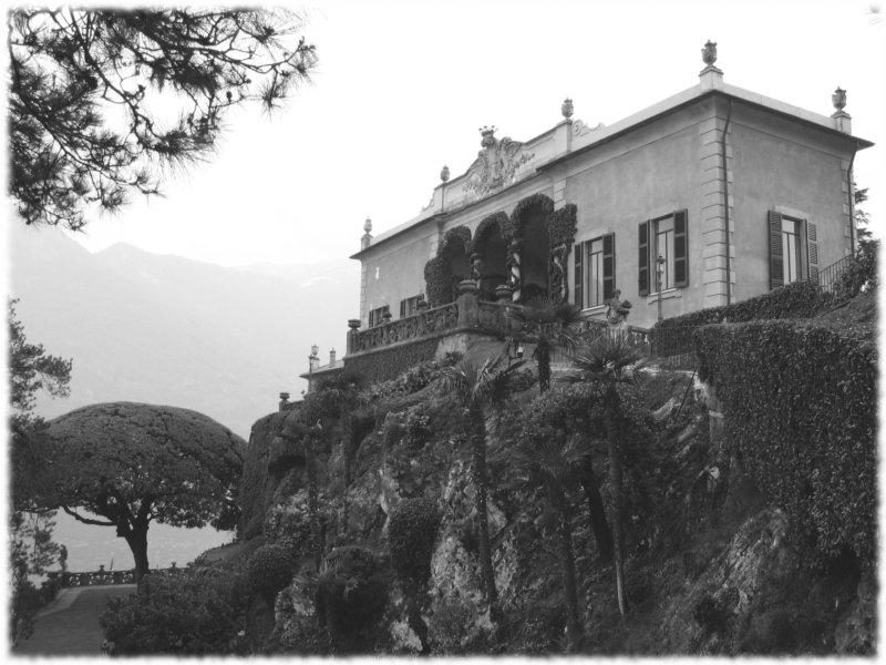 "photo ""Villa del Balbianello"" tags: black&white, architecture, landscape,"