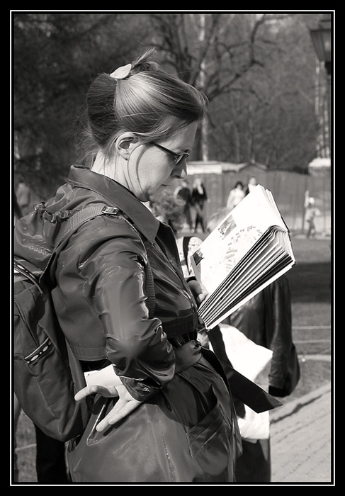 "photo ""To read always, to read everywhere!!!"" tags: genre, black&white,"