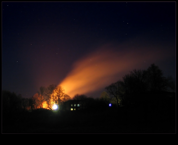 "photo ""Fire in the night..."" tags: landscape, misc., night"