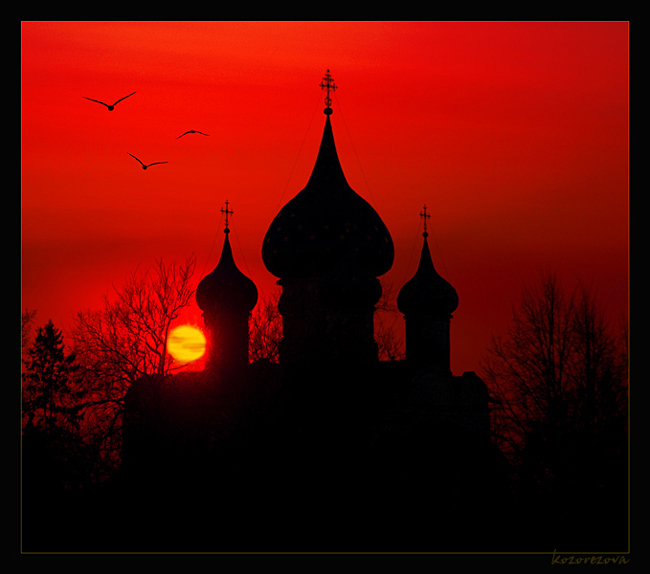"photo ""...somewhere in russia..."" tags: architecture, landscape, sunset"
