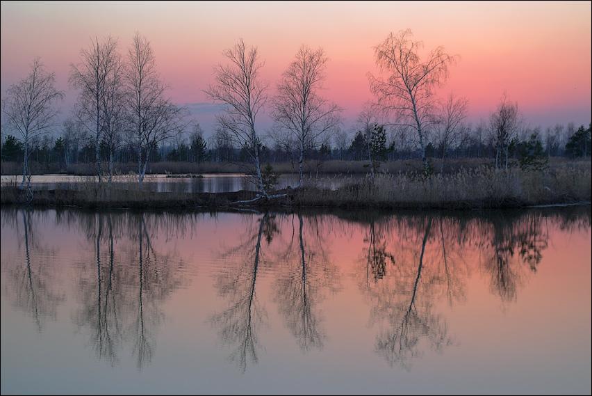 """photo """"April sundown symmetrical picture"""" tags: landscape, spring, sunset"""