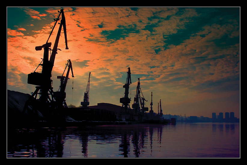 "photo ""South port in Moscow"" tags: landscape, sunset"