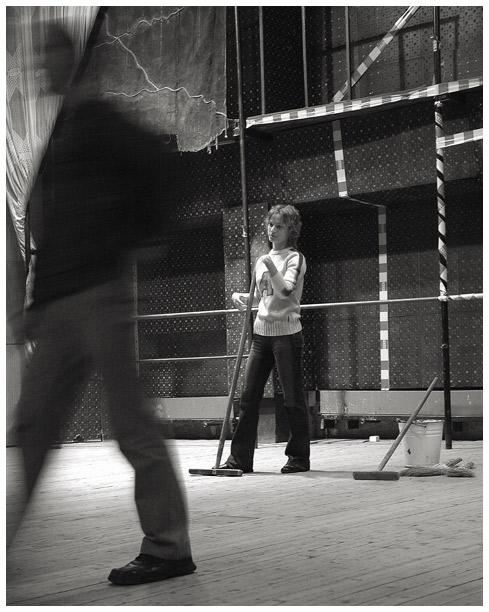 "photo ""On rehearsal"" tags: genre, black&white,"
