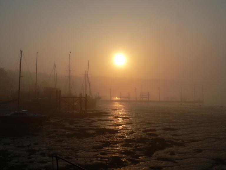 """photo """"Foggy morning sunrise"""" tags: landscape, sunset, water"""