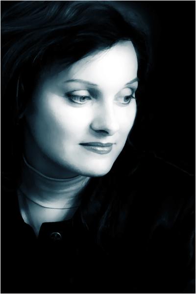 """photo """"tones of blue"""" tags: portrait, woman"""
