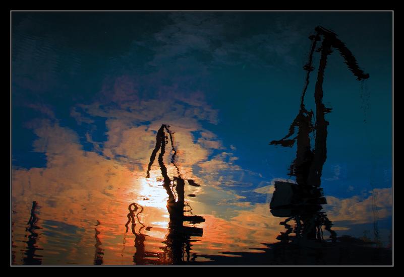 """photo """"Port cranes"""" tags: landscape, technics, water"""