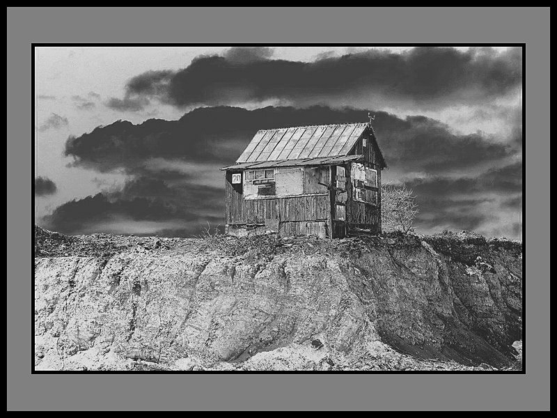 "photo ""My house-my fortress..."" tags: black&white,"