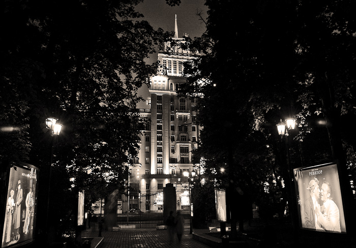 """photo """"Night Moscow"""" tags: landscape, black&white, night"""