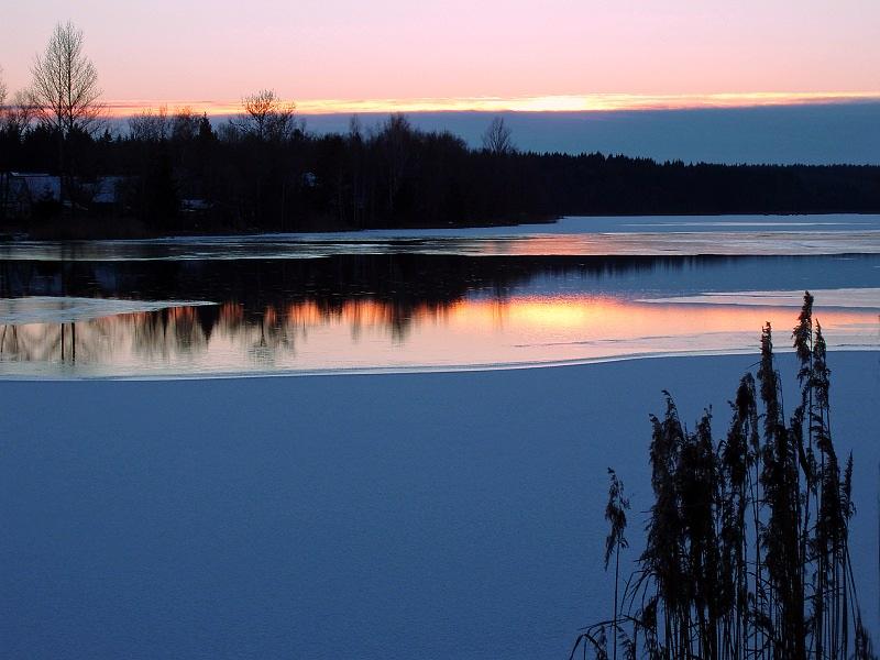 """фото """"Первый лёд"""" метки: пейзаж, закат, зима"""
