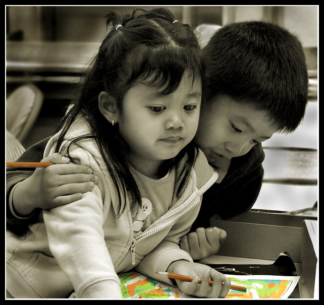 "photo ""Color Pencils Make Us Closer."" tags: genre, portrait, children"