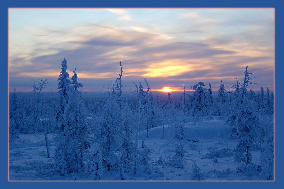 "фото ""Закат в Заполярье"" метки: пейзаж, закат, зима"