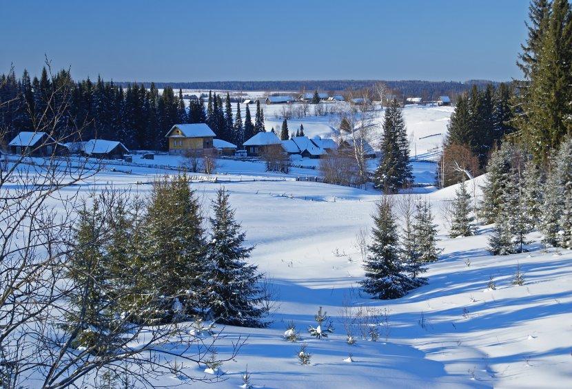 """фото """"Деревенька в логу"""" метки: пейзаж, зима"""