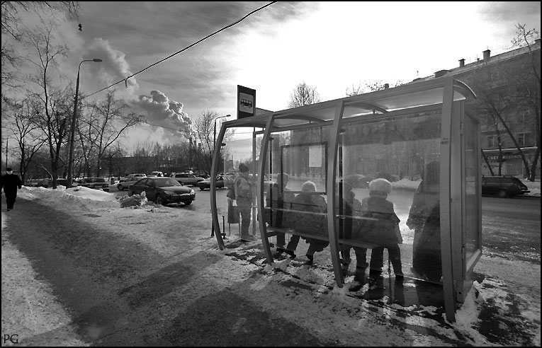 "photo ""at the bus stop"" tags: genre,"