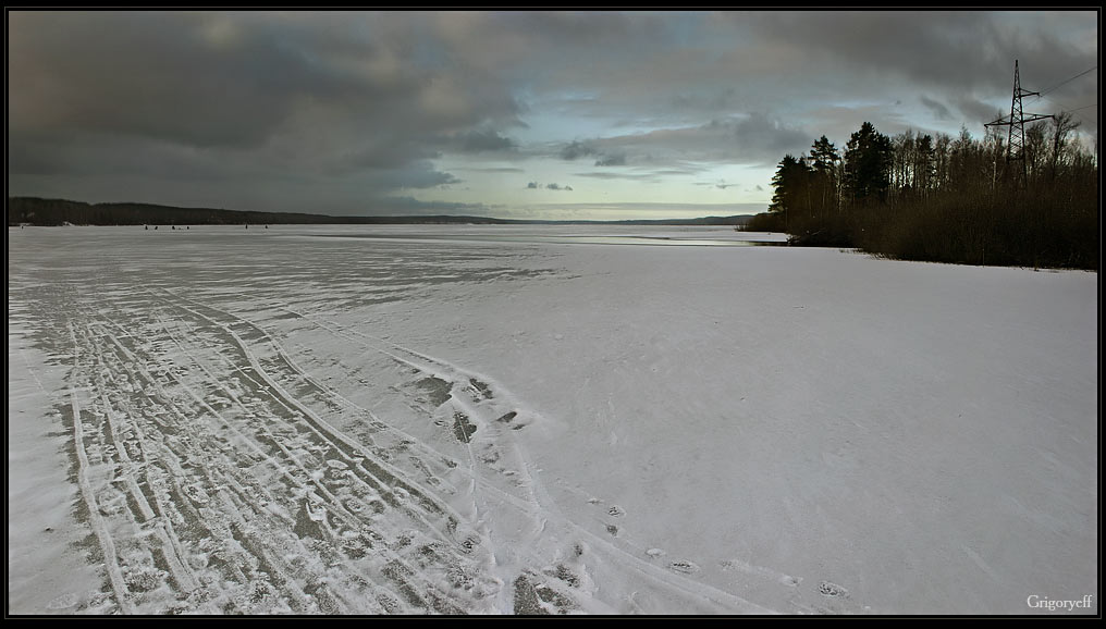 "фото ""На рыбалку. Красногвардейское озеро"" метки: пейзаж, зима"