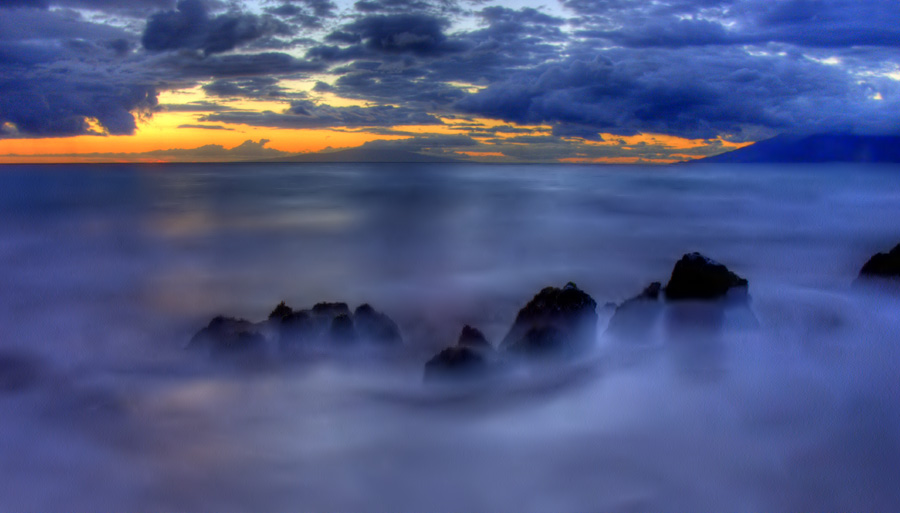 """фото """"Закат в голубом и оранжевом"""" метки: пейзаж, вода, закат"""